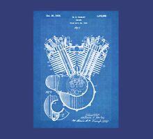 Harley Motorcycle Engine US Patent Art 1923 Harley-Davidson V-Twin Blueprint Unisex T-Shirt