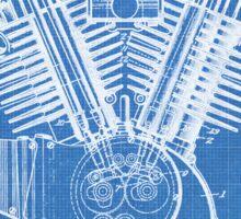 Harley Motorcycle Engine US Patent Art 1923 Harley-Davidson V-Twin Blueprint Sticker