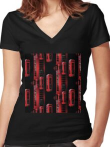 Red Phone boxes Women's Fitted V-Neck T-Shirt