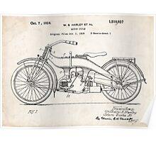 Harley-Davidson Motorcycle US Patent Art 1924 Poster