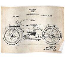 Harley-Davidson Motorcycle US Patent Art Ziska 1919 Poster