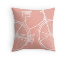 Blush Pink Vintage Bike Throw Pillow