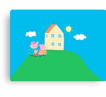Peppa Pig and Family Canvas Print