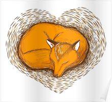LOVE HEART fox sleeping Poster