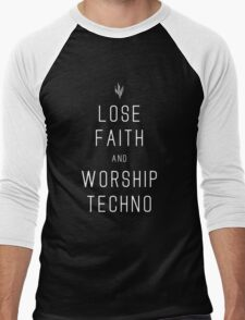 INFIDEL / Lose Faith And Worship Techno / White Men's Baseball ¾ T-Shirt