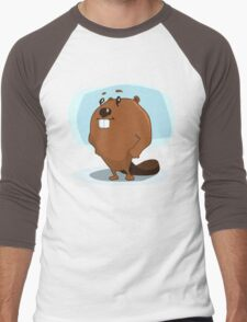 Cartoon Beaver Men's Baseball ¾ T-Shirt