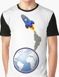 Cartoon Rocket Blasting Off from Earth Graphic T-Shirt