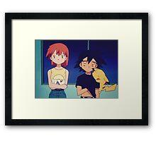 Ash Misty Pikachu Pokemon Framed Print