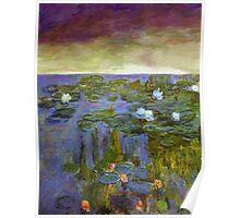monet sunset water lilies dawn landscape impressionist Poster