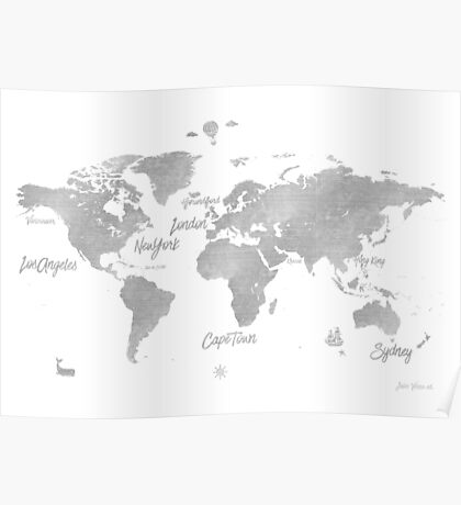World silver map Jules Verne inspired Poster