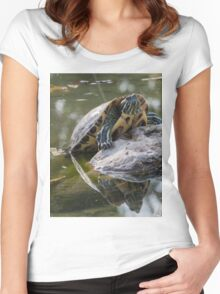 tortoise on lake Women's Fitted Scoop T-Shirt