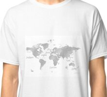 World silver map Jules Verne inspired Classic T-Shirt