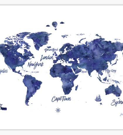 Midnight color world map Jules Verne ed Sticker
