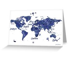 Midnight color world map Jules Verne ed Greeting Card