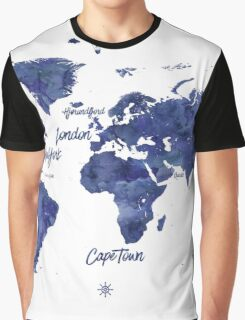 Midnight color world map Jules Verne ed Graphic T-Shirt