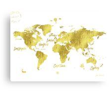 Gold world map Jules Verne inspiring Canvas Print