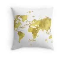 Gold world map Jules Verne inspiring Throw Pillow
