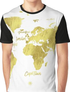 Gold world map Jules Verne inspiring Graphic T-Shirt