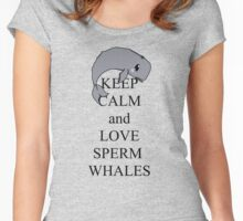 Keep calm and love sperm whales Women's Fitted Scoop T-Shirt
