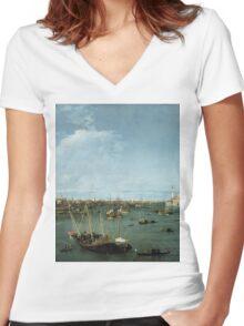 Canaletto Bernardo Bellotto - Bacino di San Marco, Venice about 1738 Women's Fitted V-Neck T-Shirt