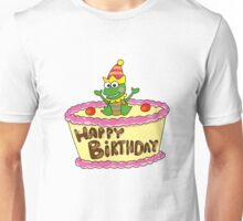 Happy birthday cake with party frog Unisex T-Shirt