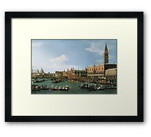 Canaletto Bernardo Bellotto - Return of  Il Bucintoro  on Ascension Day 1745-1750 Framed Print