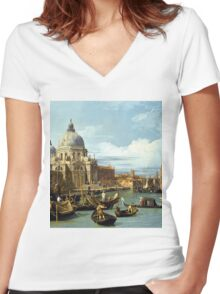 Canaletto Bernardo Bellotto - The Entrance to the Grand Canal, Venice  1730 Women's Fitted V-Neck T-Shirt