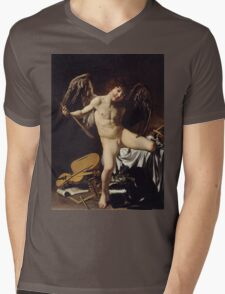 Caravaggio - Cupid as Victor around 1601 Portrait, Italian Mens V-Neck T-Shirt