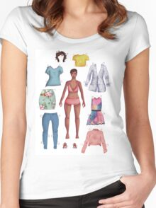 black dress-up girl Women's Fitted Scoop T-Shirt