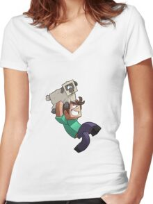 Minecraft Quest Women's Fitted V-Neck T-Shirt