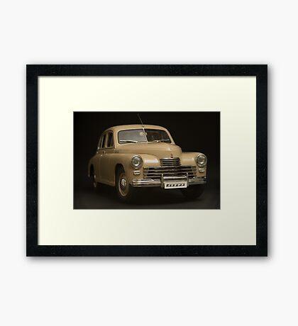 retro car on a black background Framed Print