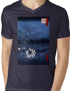 Hiroshige New Year's Eve Foxfires at the Changing Tree, Oji Mens V-Neck T-Shirt