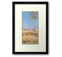 Charles Conder  - Under a southern sun Timber splitter s camp  Landscape Framed Print