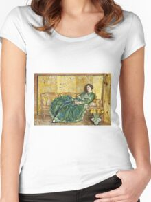 Childe Hassam - April The Green Gown ,American Impressionism Woman Portrait Fashion  Women's Fitted Scoop T-Shirt