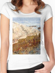 Childe Hassam - Cliff Rock - Appledore ,  American  Impressionism Seascape Marine Women's Fitted Scoop T-Shirt