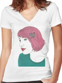 Pinkhair Women's Fitted V-Neck T-Shirt