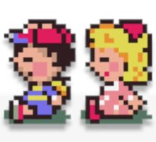 Paula and Ness Sitting  Sticker