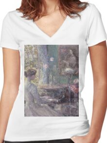 Childe Hassam - Improvisation American Impressionism Woman Portrait Fashion Musician Birthday Women's Fitted V-Neck T-Shirt
