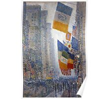 Childe Hassam - Lincoln s Birthday Flags 1918 American Impressionism Landscape Poster