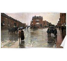 Childe Hassam - Rainy Day, Boston American Impressionism Landscape Rain Poster