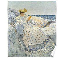 Childe Hassam - Summer Sunlight Isles of Shoals , American  Impressionism Seascape Marine Woman Portrait Fashion  Poster