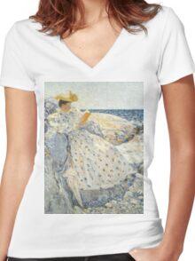 Childe Hassam - Summer Sunlight Isles of Shoals , American  Impressionism Seascape Marine Woman Portrait Fashion  Women's Fitted V-Neck T-Shirt