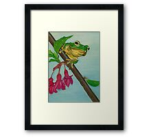 a peaceful frog Framed Print