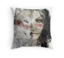 wolf lady  Throw Pillow