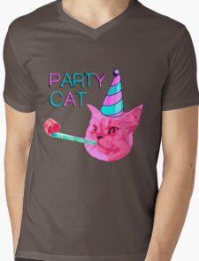 Party Cat Mens V-Neck T-Shirt