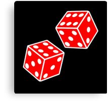 LUCKY, DOUBLE SIX, DICE, RED DICE, Throw the Dice, Casino, Game, Gamble, CRAPS, on BLACK Canvas Print