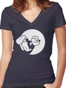 Popeye Women's Fitted V-Neck T-Shirt
