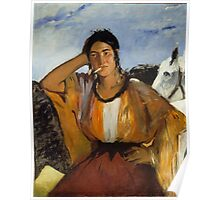 Edouard Manet - Gypsy with a Cigarette , French Impressionism , Woman , Fashion ,  Portrait Poster