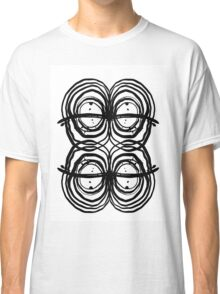 Black white, gold foil, striped, minimal, modern, urban, hipster, painting art , painting, paint, brushstrokes, india ink, black, white, trendy, city, dorm college, abstract, minimalism,  Classic T-Shirt