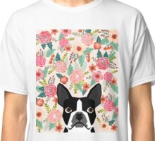 Boston Terrier florals pattern print flowers spring summer cute dog portrait art print dog breed gifts for dog person  Classic T-Shirt